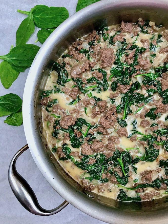 Ground Beef With Spinach And Cream Makes A Great Weeknight Meal Delivering Flavor When You Ground Beef Recipes Healthy Healthy Beef Recipes Beef Spinach Recipe