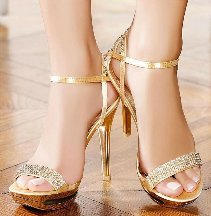 Beautiful gold sandals heels