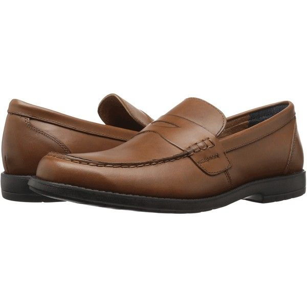 Nunn Bush Appleton Moc Toe Penny Loafer (Saddle Tan) Men's Slip-on... ($68) ❤ liked on Polyvore featuring men's fashion, men's shoes, brown, mens penny loafers, mens loafer shoes, mens tan loafers, mens brown loafers and mens tan dress shoes