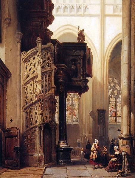 Johannes Bosboom (Dutch, 1817 - 1891) 'St. Maclou In Rouen'