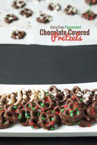 #DairyFree Peppermint Chocolate Covered Pretzels  Recipe via @ExSloth   ExSloth.com