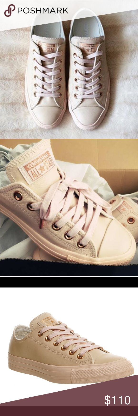 NIB Rose Gold LEATHER Converse Nude Collection NOT AVAILABLE IN THE US and shipping from Europe takes 2 weeks! I paid 80 euros including shipping for these and ordered the wrong size and it costs 20 euros to ship them back. They're absolutely stunning and the leather is incredibly soft. These are a US size 10. Converse Shoes Sneakers