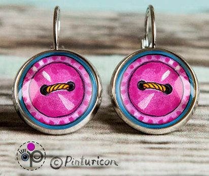 Glass Cabochon Earrings Pink Buttons Earrings Dangle by Pinturicon