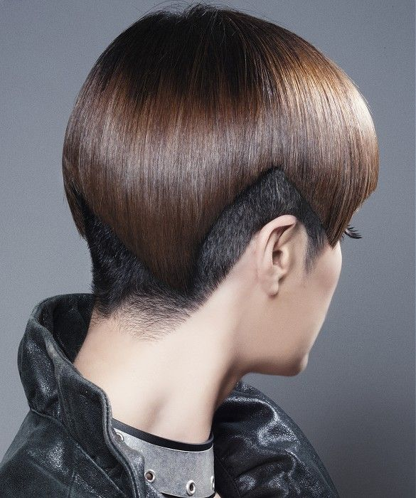 Short Brown straight coloured multi-tonal sculptured shaved-sides avant-garde womens haircut hairstyles for women