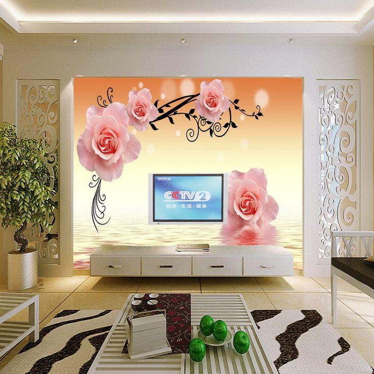Индивидуальные большая фреска абстрактный вырос романтический 3d стереоскопический обои цветочные ткани гостиной телевизор фон