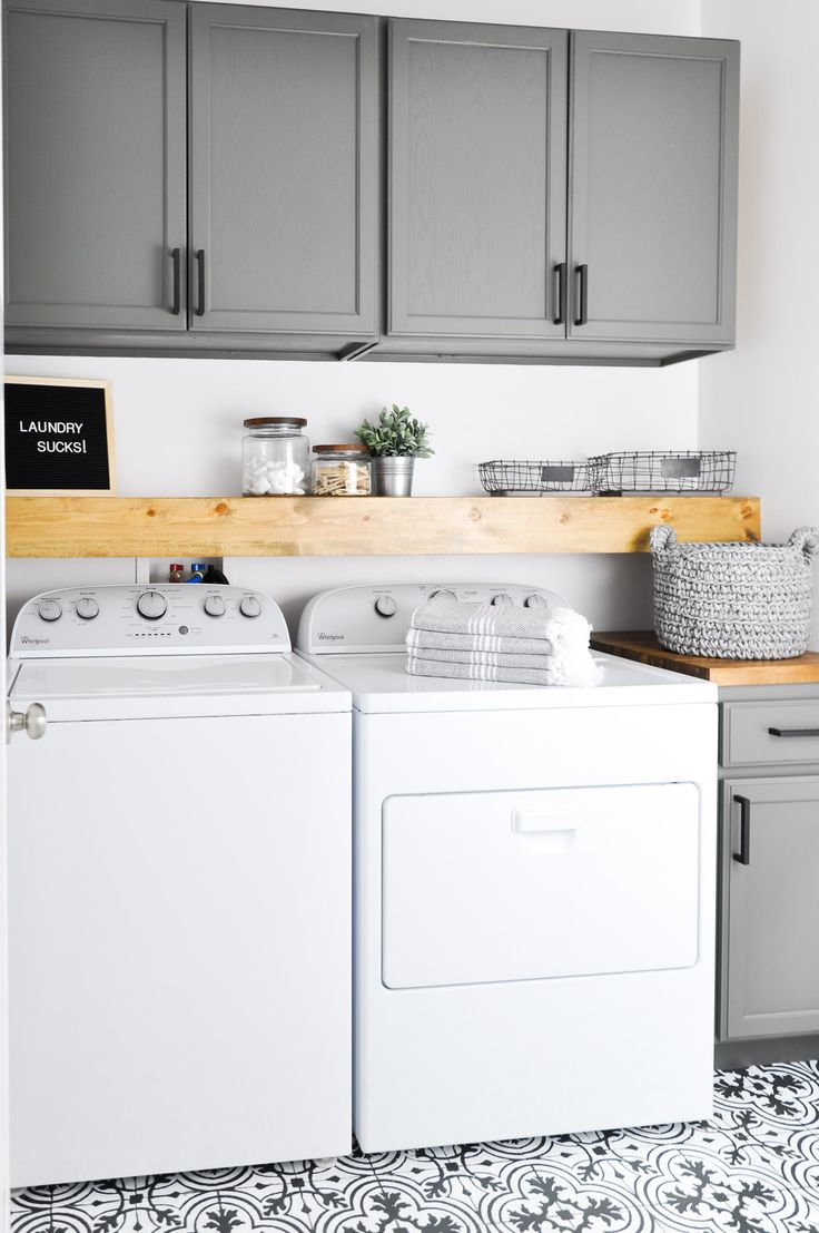 Grey, white wood and tile | laundry rooms | laundry | laundry room home décor | home décor | interior design