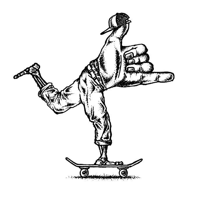Illustration, ink, skateboarding, surf, surfing, hang loose