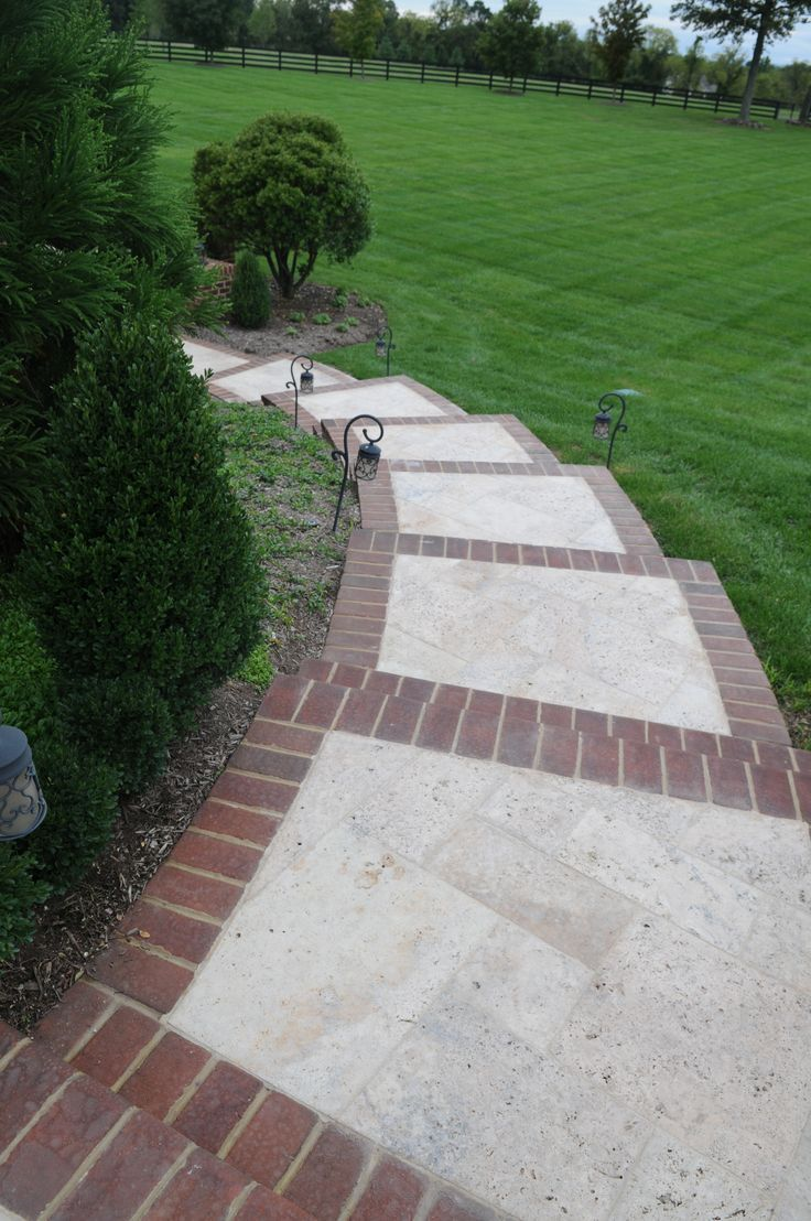 Brick inlay sidewalk idea for front service walk and steps ... on Concrete Front Yard Ideas id=27950