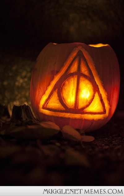 Literary Pumpkin Carving Ideas: The Deathly Hallows symbol from the Harry Potter series