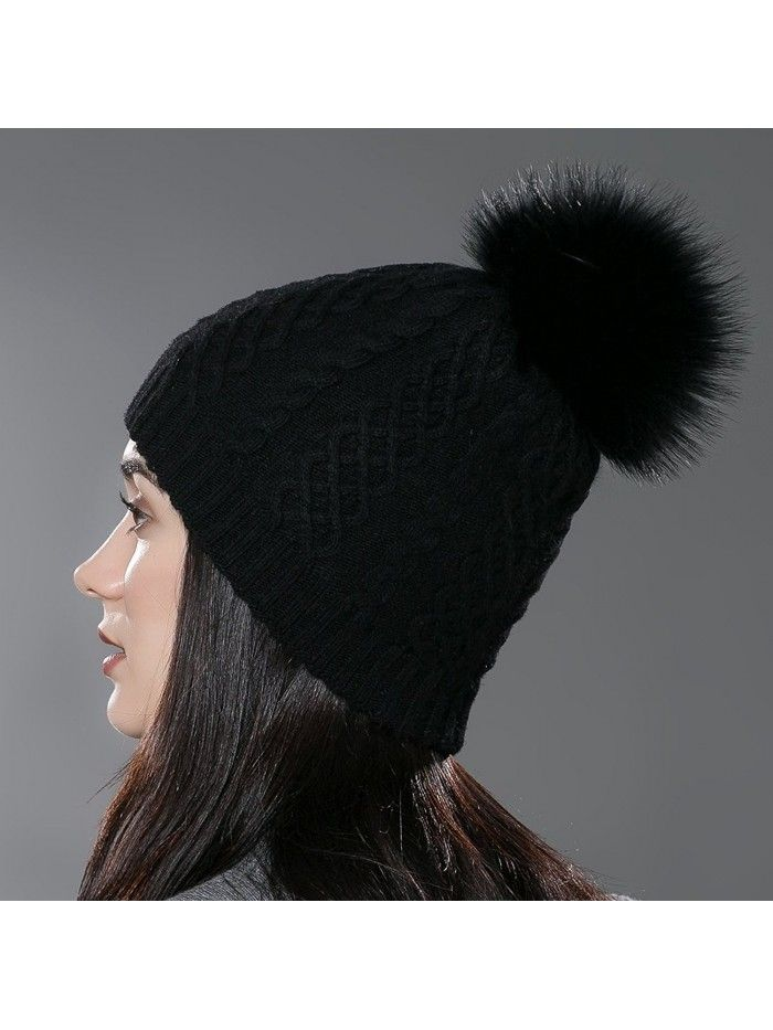 Womens Winter Bobble Hat Unisex Wool Knit Beanie Cap with Fur Ball ... db8a0212778b