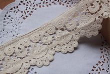 10 yards/Lot,7cm(2.76 Inch) Width, Beige Vintage chic scalloped Embroidery Cotton Fabric Crochet Lace Trim(China (Mainland))