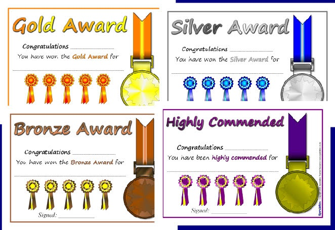Gold Silver And Bronze Awards Certificates Art Show Pinterest
