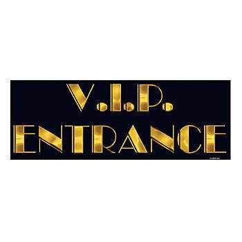 This VIP Entrance Sign is the perfect addition to your Hollywood or Red Carpet event. This black and gold cardstock cutout measures 8 inches x 22 inches.