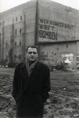 "Hochbunker, Berlin, actor Bruno Ganz. (Film still from ""Der Himmel über Berlin"" by Wim Wenders, 1980s)."