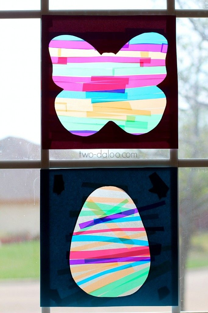 Preschool Craft Idea: Colorful Spring Suncatchers #easter