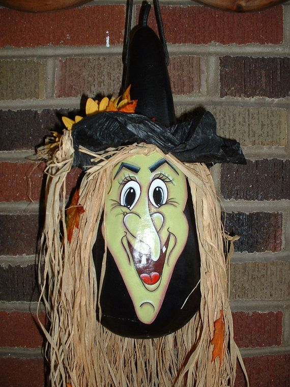 Halloween Witch Painted Gourd