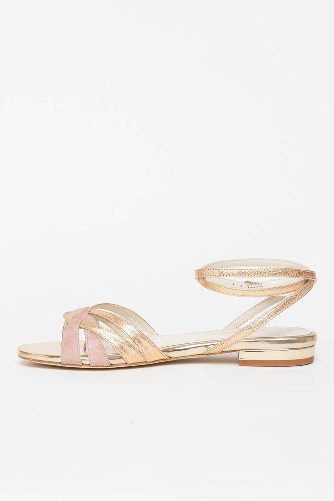Brautschuh Flache Sandalette In Gold Und Altrosa Zur Hochzeit Athen Brautschuhe Schuhe Hochzeit Sandaletten