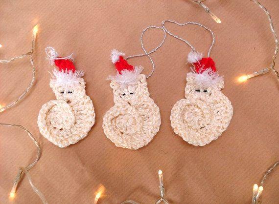 Kerstboom Versiering Gehaakte katten Kerst Mutsjes door MissMinoes