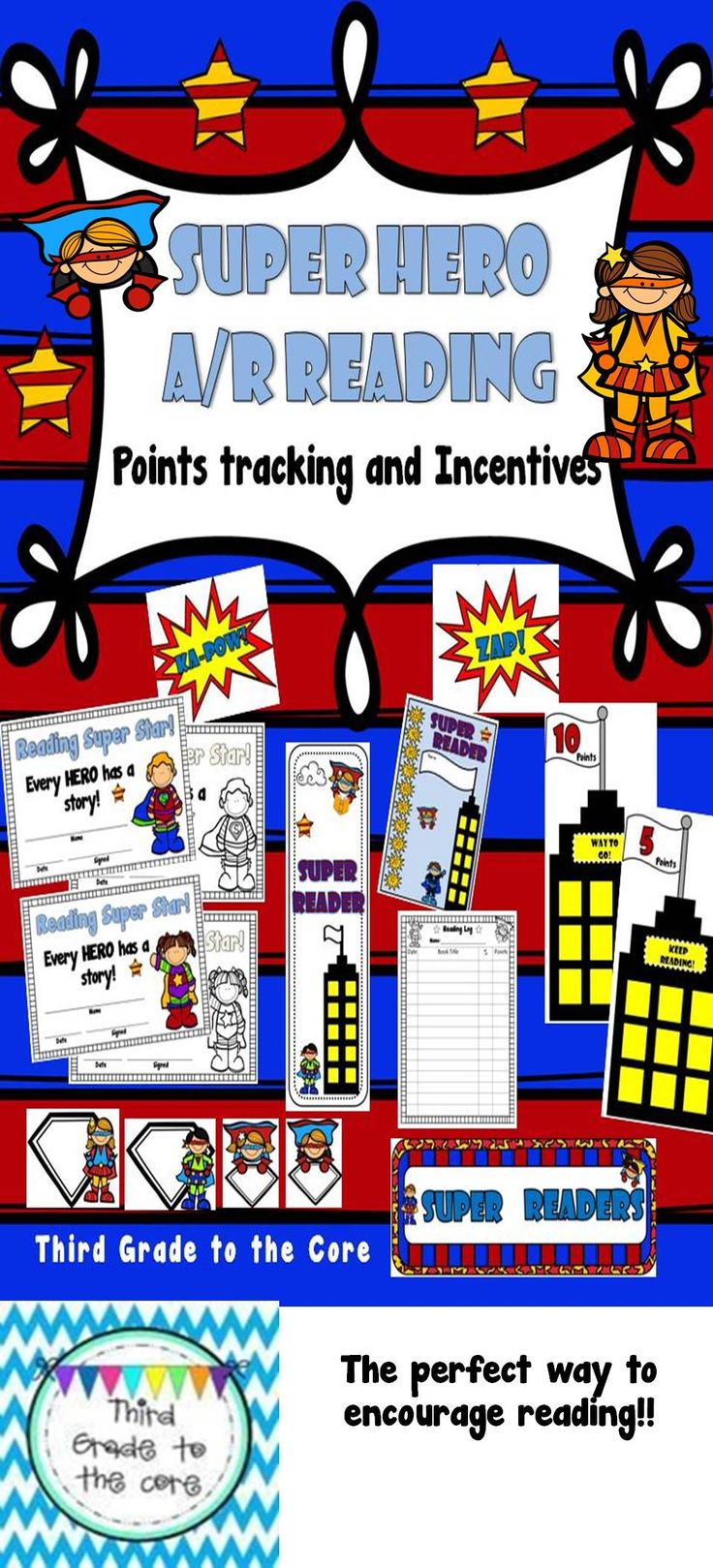 Let your students know that Readers are Super Heroes! This pack is perfect for use with Accelerated Reader.  Bulletin board display, logs, incentive rewards!