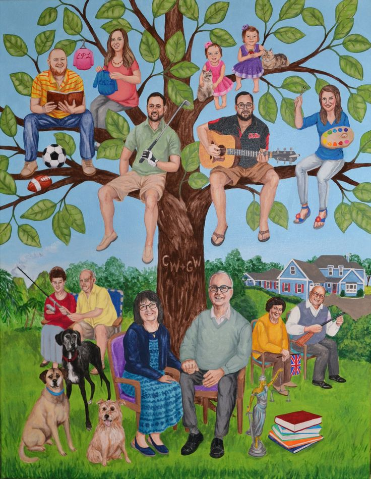 Fun Family Portrait Painted To Look Like A Tree As Parents 50th Wedding Anniversary