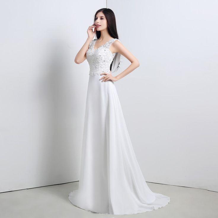 Белые Свадебные Платья 2016 V-Образным Вырезом Sexy Спинки Шифон Аппликации Бисером-Линии Лонг-Бич Свадебные Платья Развертки Поезд