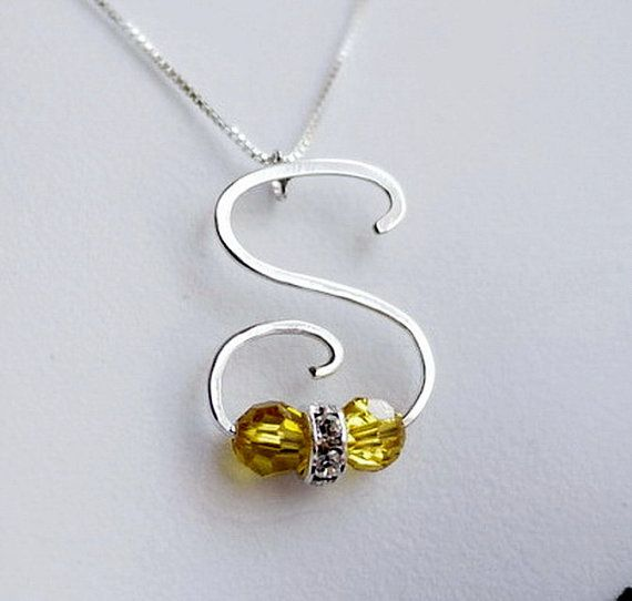 Handmade Letter S  Shaped Birthstone Pendant - Initial Monogram Calligraphy Necklace by I Heart This on Etsy, $35.00