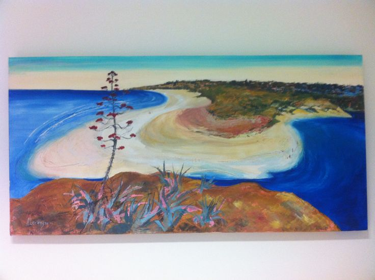 Artists impression of Port Noarlunga painting is hung at Flinders Medical Centre