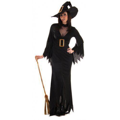 Damen Kostüm Gothic Hexe Halloween Lang Outfit Standard &Übergröße - Schwarz, Übergröße 44-48