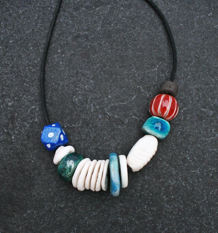 Red white and blue ceramic necklace w/ handmade porcelain beads/ Raku/ lamp work art bead/ unique Gift for her/ artful/ modern Boho/ OOAK by CopperLarkStudio on Etsy