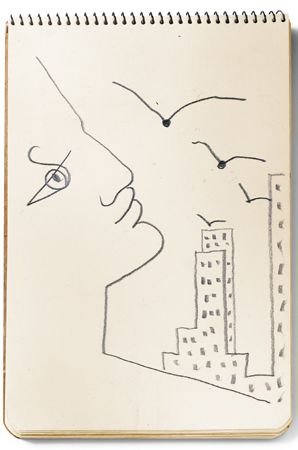 Jean Cocteau sketch from his arrival in New York in 1949Photo: © 2011 Artists Rights Society (ARS), New York / ADAGP, Paris