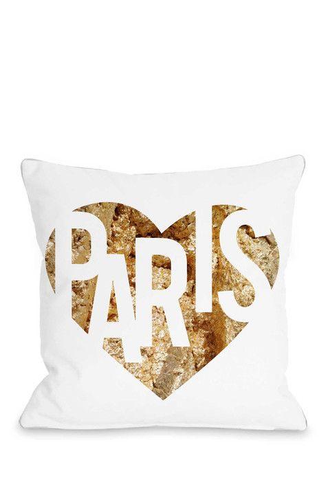 I Love Paris Pillow - Gold