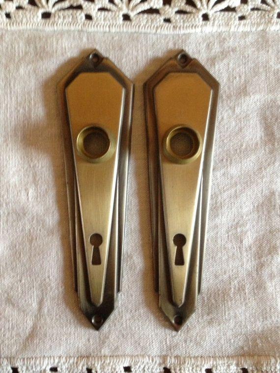 Pair Of Vintage Antique Art Deco V Door Escutcheon Plates With Key Hole