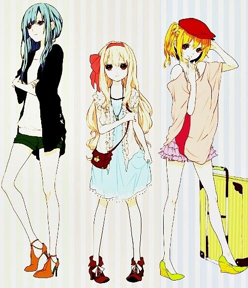 Very cute anime fashion. I can imagine myself wearing these three outfits.