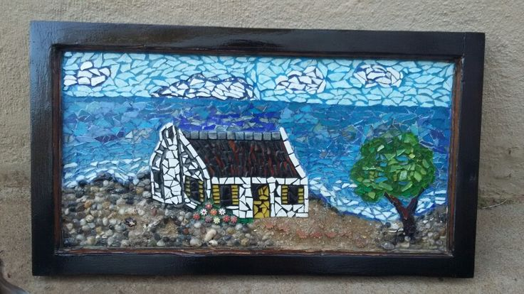 Mosaic House in old door frame