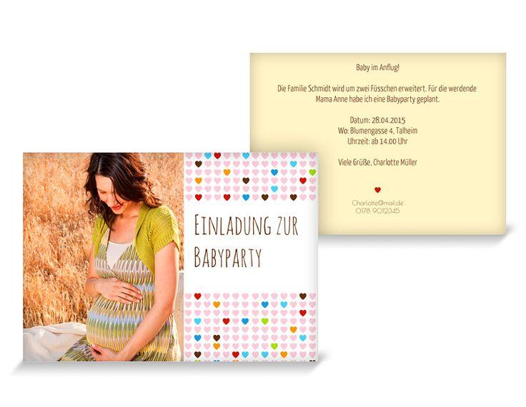 Babyparty Einladungskarten Mosaik