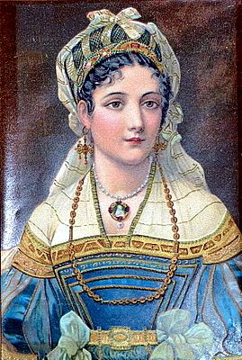 """Antique Hand Painted Portraits of 15th Century Italian Renaissance Maidens Watercolors on Vellum Embellished with Gold & Luminous Paints - Each 5""""h x 3.25""""w"""