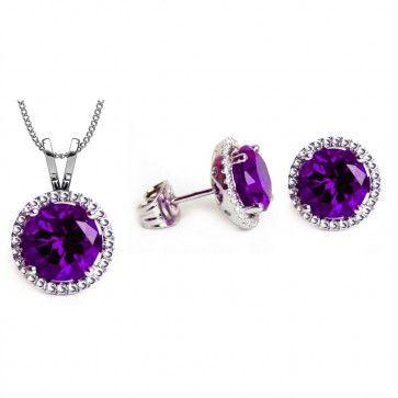 18K White Gold GP Hearts Stud Eearring Blue Sapphire, Pink Rose or Purple Ligt Amethyst Swarovski Crystals