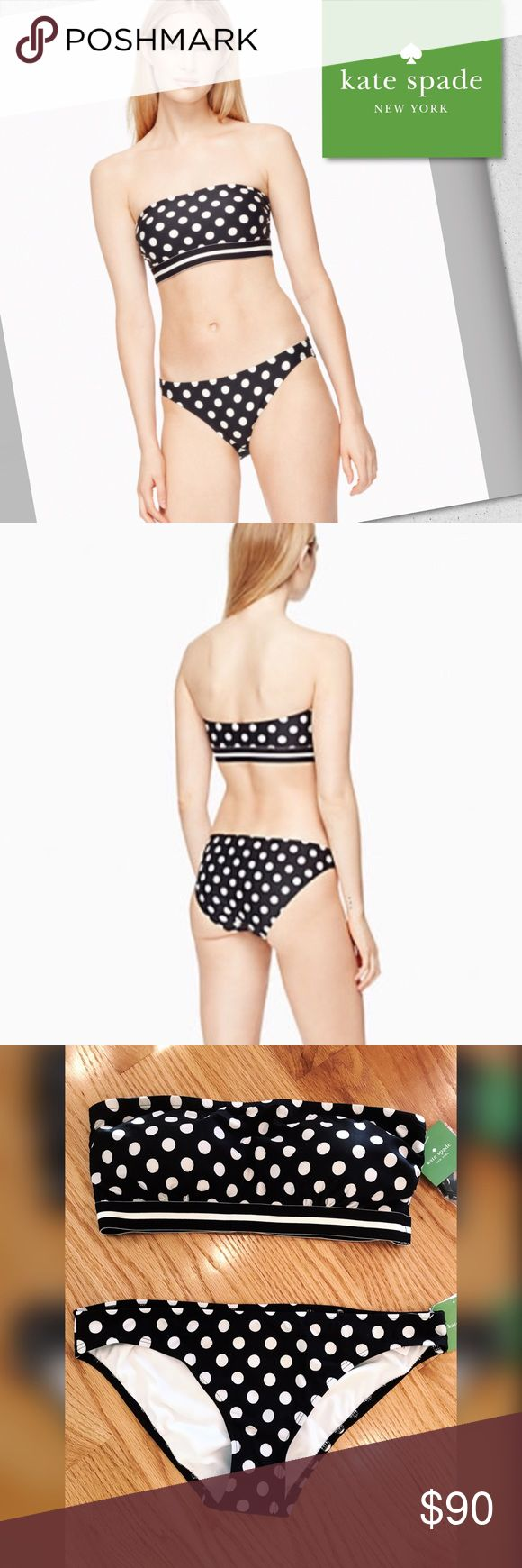 Kate Spade Polka Dot Bandeau Bikini She wore an itsy bitsy, teeny weenie, black Polka dot bikini...🎼 Kate Spade beautiful bandeau-style top and bikini bottoms from the 2017 collection. Clean lines, has removable straps and soft cups. Adjustable hook closure in back. Together the pieces are timeless and won't go out of style. For sizing, see measurement guide. These won't last long! kate spade Swim Bikinis