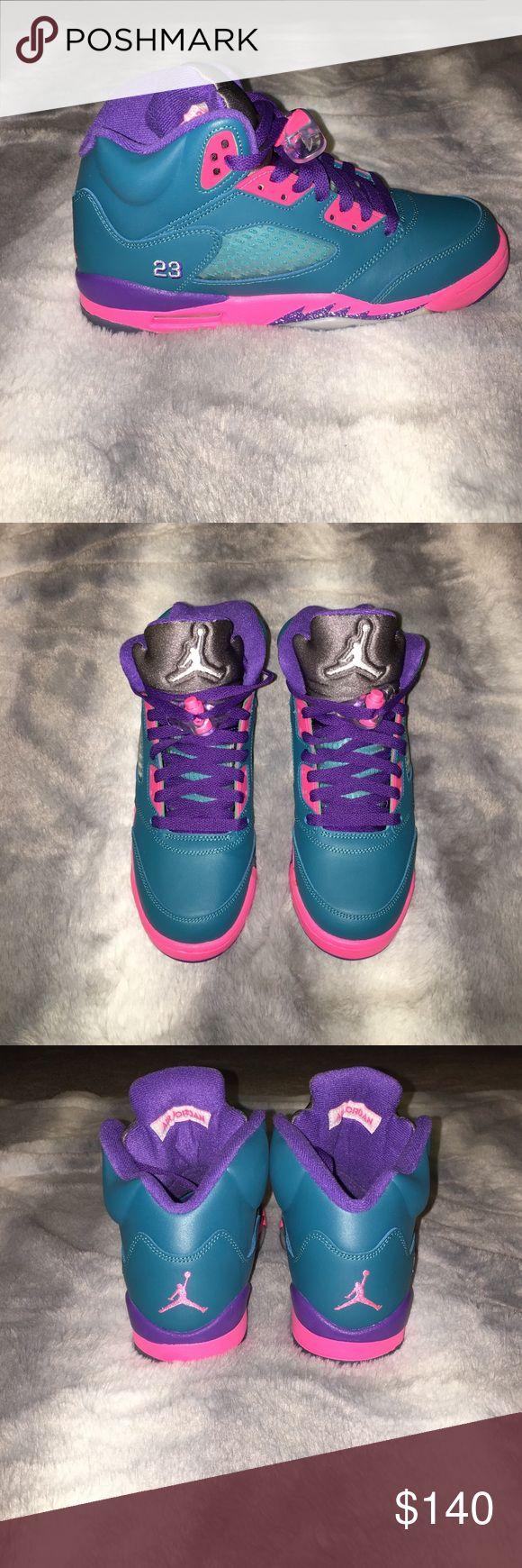 "Brand NEW! Air Jordan Retro 5s ""Tropical Teal"" Brand NEW!! Girls Air Jordan 5s ""Tropical Teal. In BOX and ORIGINAL PACKAGING!!!! Its a size US 6Y, UK 5.5 Jordan Shoes Sneakers"