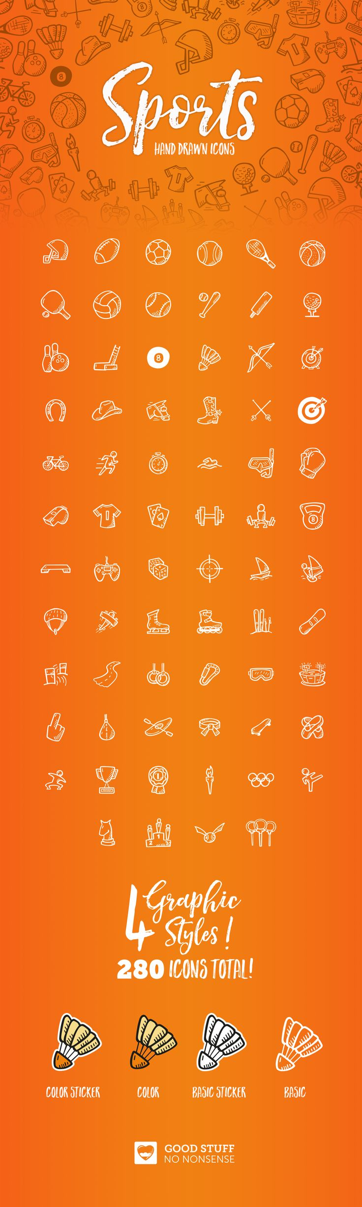 Hand Drawn Sports Icons made by @weboutloud #icons #sport #sports #activity #fit #illustration #icon