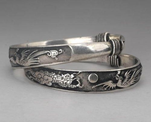 Rare 2 pcs Tibet silver carved DRAGON men's bracelet bangle