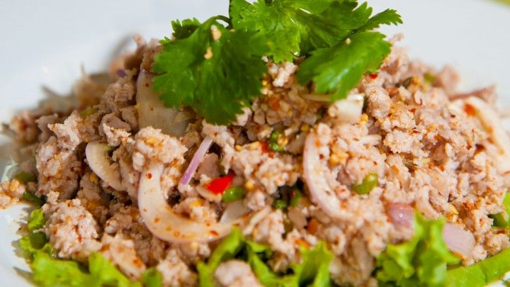 Pork Larb with Vermicelli Noodles In Lettuce Cups