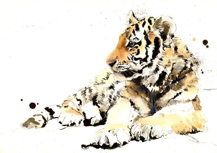 "Saatchi Online Artist: Lucy Newton; Ink, Mixed Media ""Tiger Cub"""