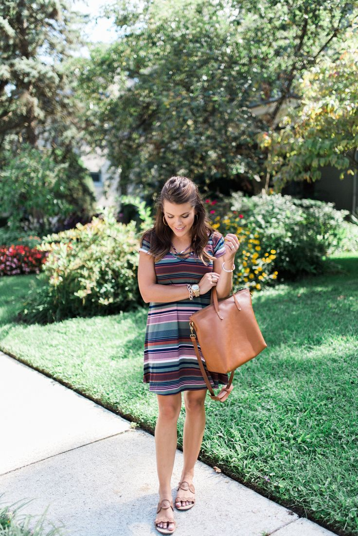 Transition a Stripe T-Shirt Dress from Summer to Fall via Glitter & Gingham // Nordstrom Dress, 3.1 Phillip Lim Pashli, BB Dakota Faux Leather Jacket