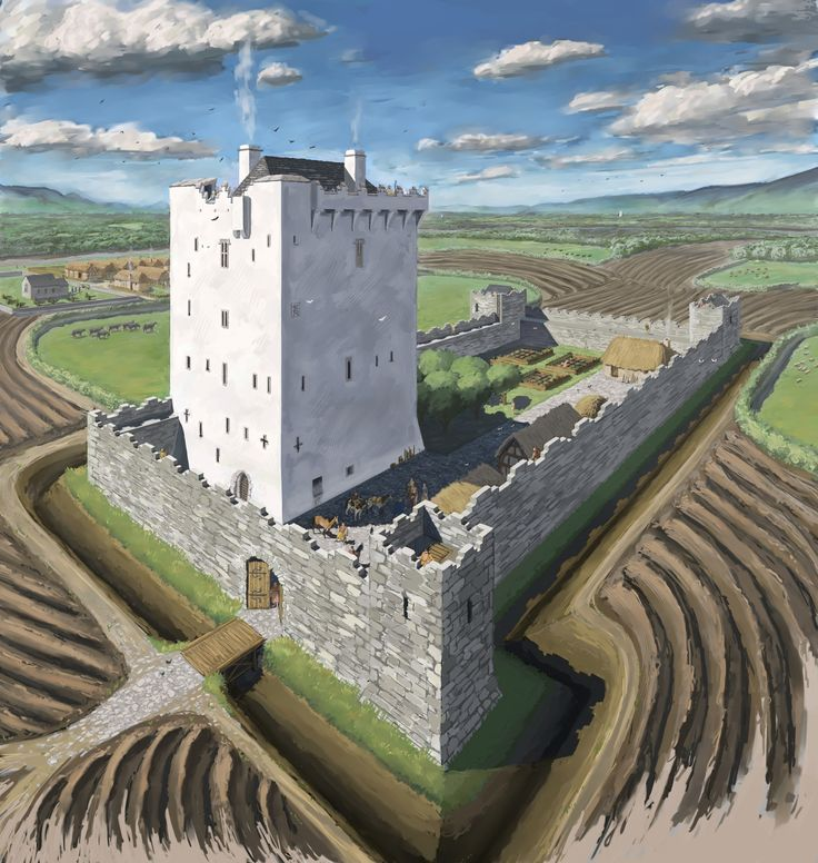 Tower house & Bawn illustration from late medieval Ireland   Archaeological & Historical Illustration (JG O'Donoghue)