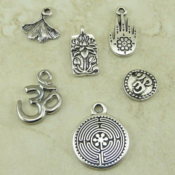 TierraCast Yoga Symbol Charm Mix Pack  Silver and by Dragynsfyre, $6.54