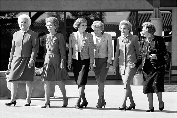 First Ladies of The United States - From the right they are Lady Bird Johnson, Pat Nixon, Betty Ford, Rosalynn Carter, Nancy Reagan, Barbara Bush