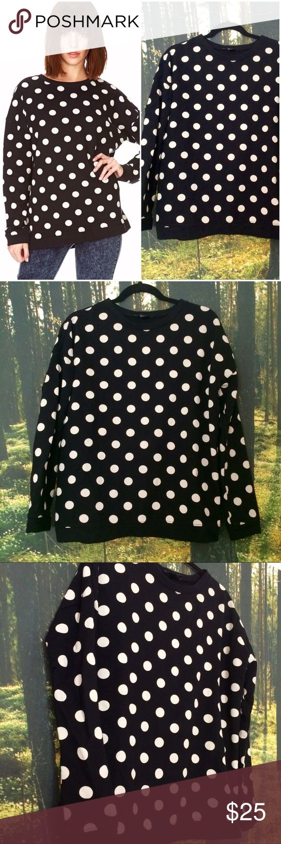 Polka Dot Sweatshirt Connect the dots! Crewneck polka-dot sweatshirt in like-new condition. Size S, will fit anyone between a 2-8. Forever 21 Tops Sweatshirts & Hoodies