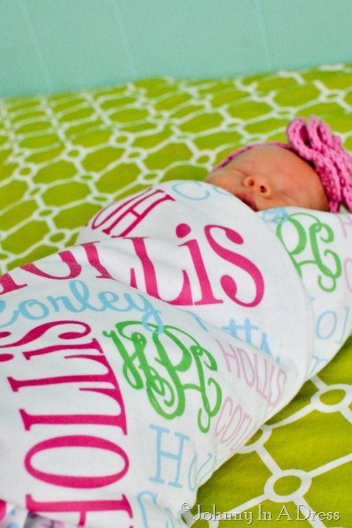 monogrammed swaddle blanket