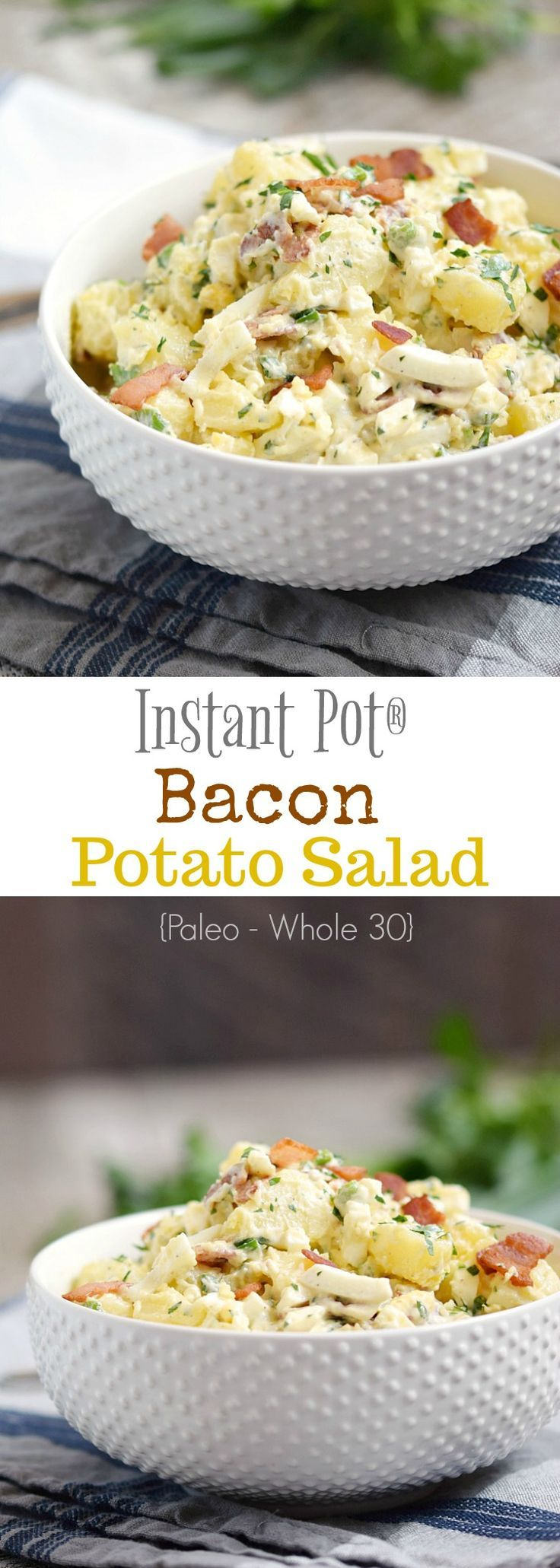 This Instant Pot Bacon Potato Salad will be a hit at all of this summer's potlucks and barbecues, and it's even Paleo and Whole 30 compliant | cookingwithcurls.com